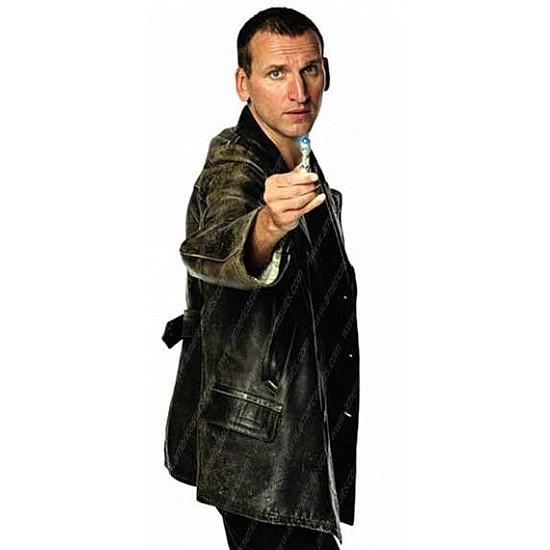 NEW MEN/'S Dr Who TV Series Eccleston Black Leather Jacket//Coat