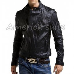 Asymmetrical Black Leather Slimfit Jacket