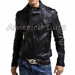 Asymmetrical Black Leather Slimfit Jacket