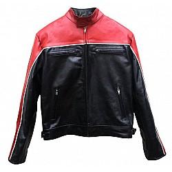 Red And Black Biker Leather Jacket For Men