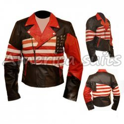 American Flag Vintage Leather Jacket On Sale