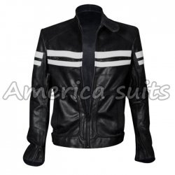 Fight Club Mayhem Black And White Leather Jacket For Men