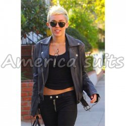 Miley Ray Cirus Hot Celebrity Biker Leather Jacket
