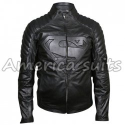 Superman Men Of Steel Leather Jacket In Black