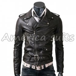 Slim Fit Belted Rider Black Jacket