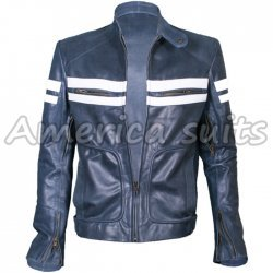 Fight Club Brad Pitt Blue White Leather Jacket