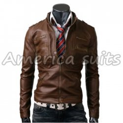 Men's Slim Fit Zipper Strap Motorcycle Leather Jacket