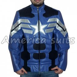 The Avengers Blue and White Leather Jacket