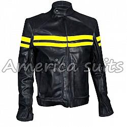 Mens Fight Club Mayhem Style Black Leather Motorcycle Jacket