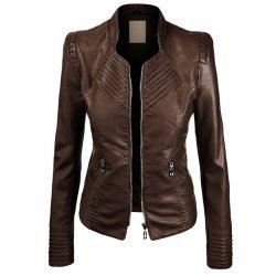 Brown Quilted Leather Jacket For Women
