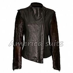 Fur Sleeve lindsay Lohan Leather Jacket