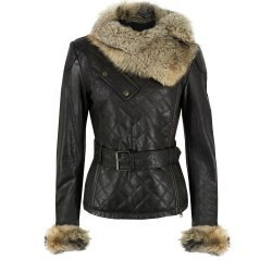 Ladies Luxury Soft Lamb Leather Quilted Raccoon Fur Collar Jacket
