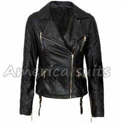 Ladies Imitation Quilted Black leather Biker Jacket