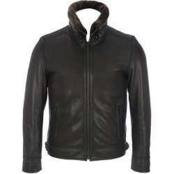 Men,s Leather Mens Bomber Leather Jacket Detachable Faux-Fur Collar