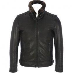 Men,s Leather Mens Bomber Leather Jacket Detachable Faux-Fur Collar