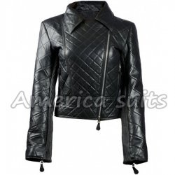 Quilted Womens Leather Biker Jacket