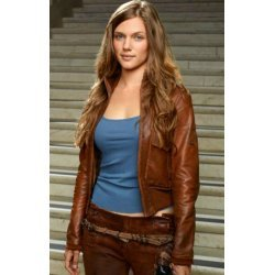 Revolution TV Series Tracy Spiridakos Brown leather Jacket