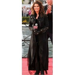 Shania Twain Black Long LeatherTrench Coat With Studs
