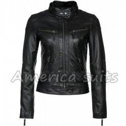 Womens Slim Fit Lambskin Biker Jacket