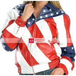 American Flag Women Leather Jacket