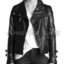 Asymmetrical Black Leather Moto Jacket For Women