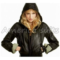 Beth Riesgraf Leverage parker Black Leather Jacket