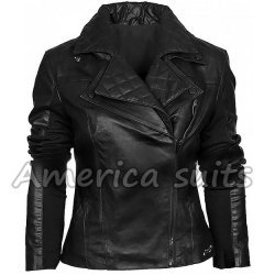 Black Asymmetric Women Biker Style Leather Jacket