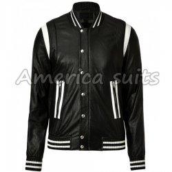 Men Black Leather Bomber Jacket