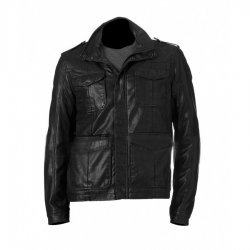 Black Faux Leather Mens Military Jacket
