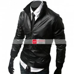 Black Genuine leather Moto Jacket For Men