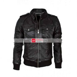 Black Leather Biker Jacket Mens