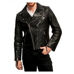 Men Black Goatskin Biker Leather Jacket