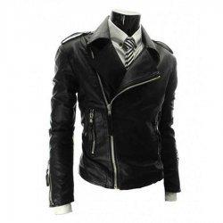 Black Mens Slim Fit Leather Biker Jacket