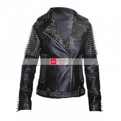 Britney Spears Studded Black Leather Jacket