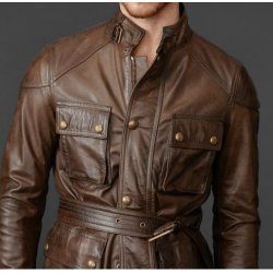 Men's Brown Leather Jacket Waxed