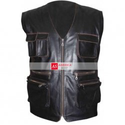 Chris Pratt Jurassic Park Black Leather Vest