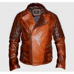 Classic Diamond Motorcycle Biker Brown Distressed Vintage Leather Jacket