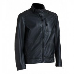Classic Look Black Ribbed Leather Jacket