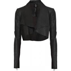 Womens cropped leather biker jacket