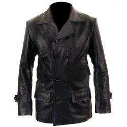 Dr Who Black Leather  Coat For Men
