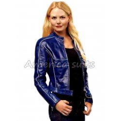 Emma Swan Blue Leather Jacket
