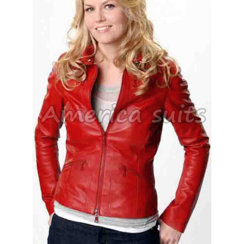 ladies red leather jacket - photo #23