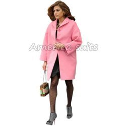 Eva Mendez Pink Wool Coat