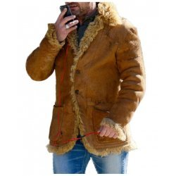Gerard Butler Hot Fur Brown Leather Jacket