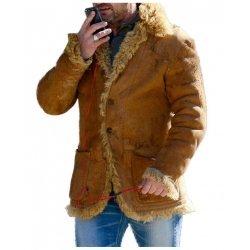Gerard Butler Hot Fur Brown Leather Jacket