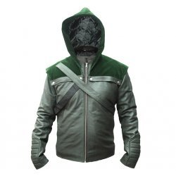 Stephan Amell Green Arrow Hooded Leather Jacket