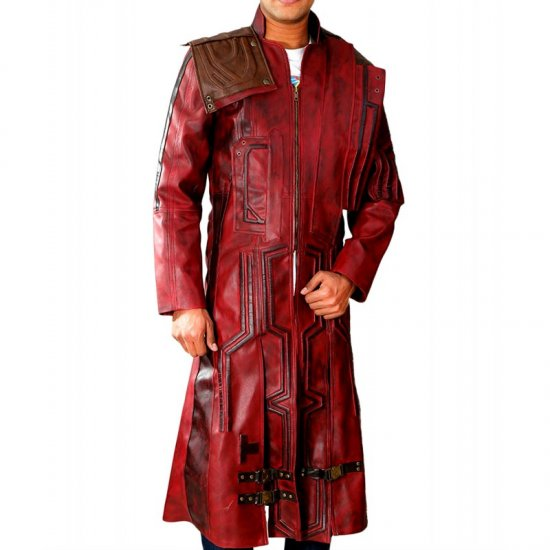 Feather Skin Mens Clothing Guardians of The Galaxy Star Lord Peter Quill Chris Pratt Leather Trench Coat Burgundy