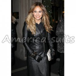 Jennifer Lopez Black Long Leather Jacket