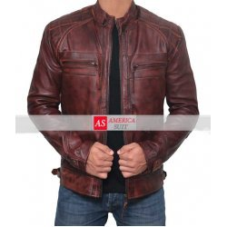 Johnson Chocolate Brown Distressed Lambskin Mens Stylish Racer Leather Jacket