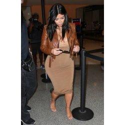 kim Kardashian Brown Distressed Leather Jackets For Women